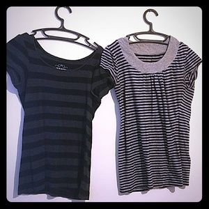 Two black and grey striped tee shirts